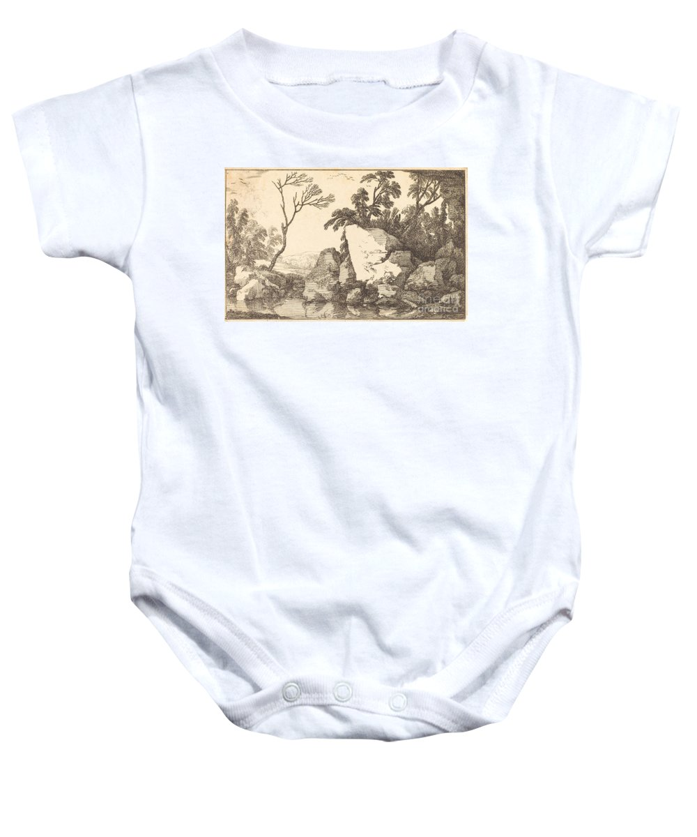 Baby Onesie featuring the drawing A Rocky Pond by Laurent De La Hyre