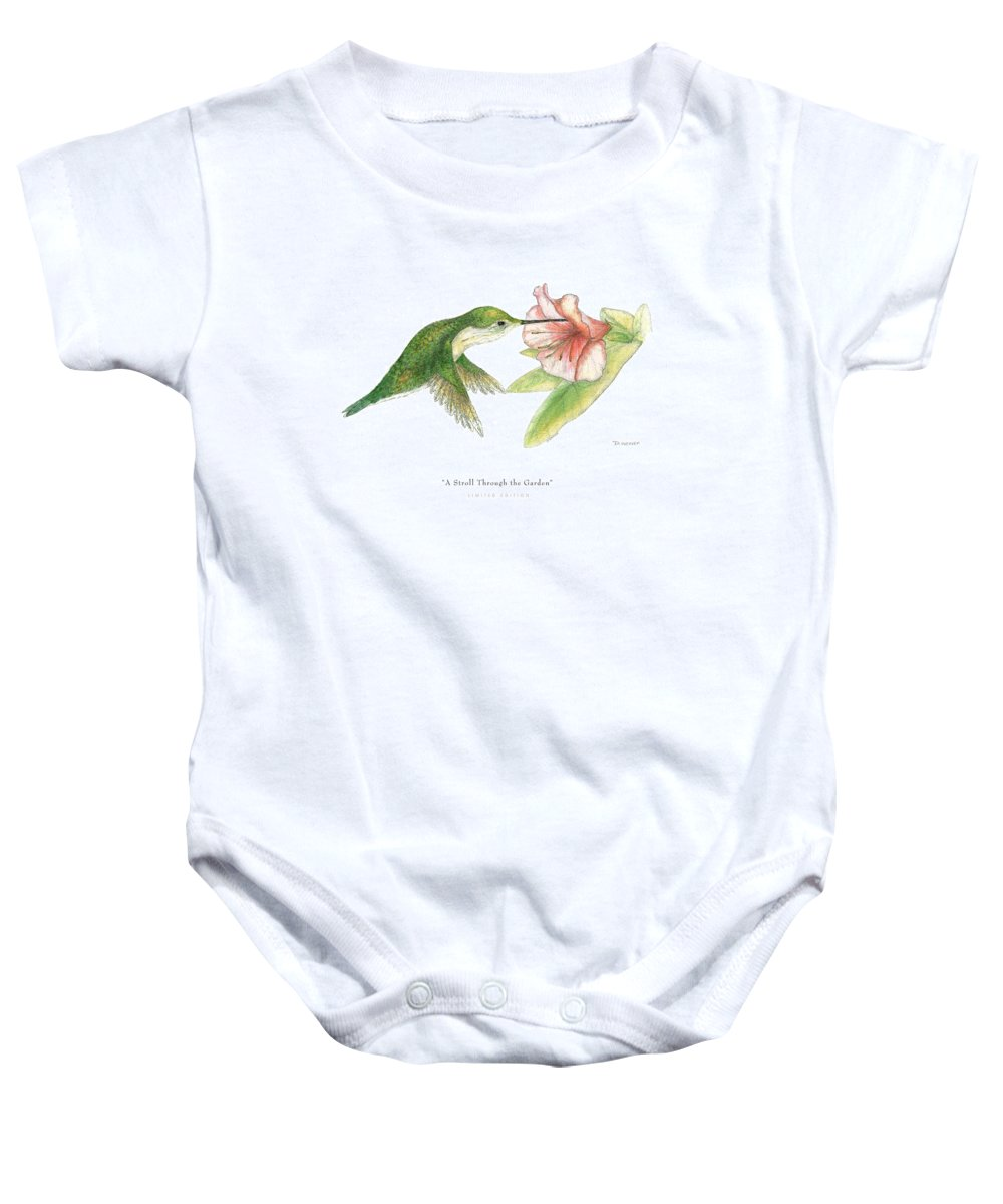 Hummingbird Drinking Nectar Baby Onesie featuring the drawing A Stroll Through The Garden by David Weaver