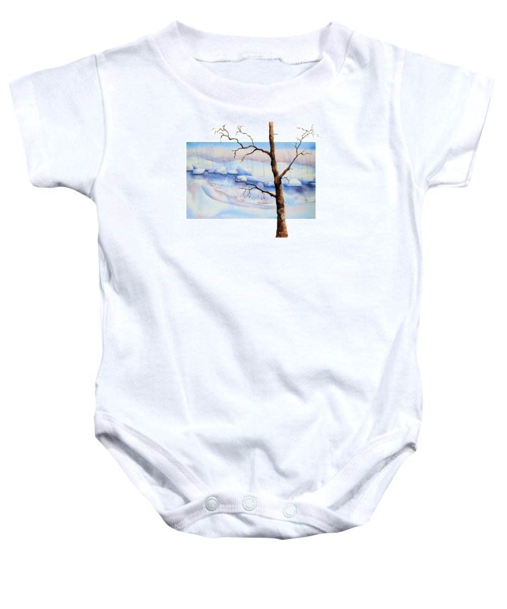 Tree Baby Onesie featuring the painting A Tree In Another Dimension by Debbie Lewis