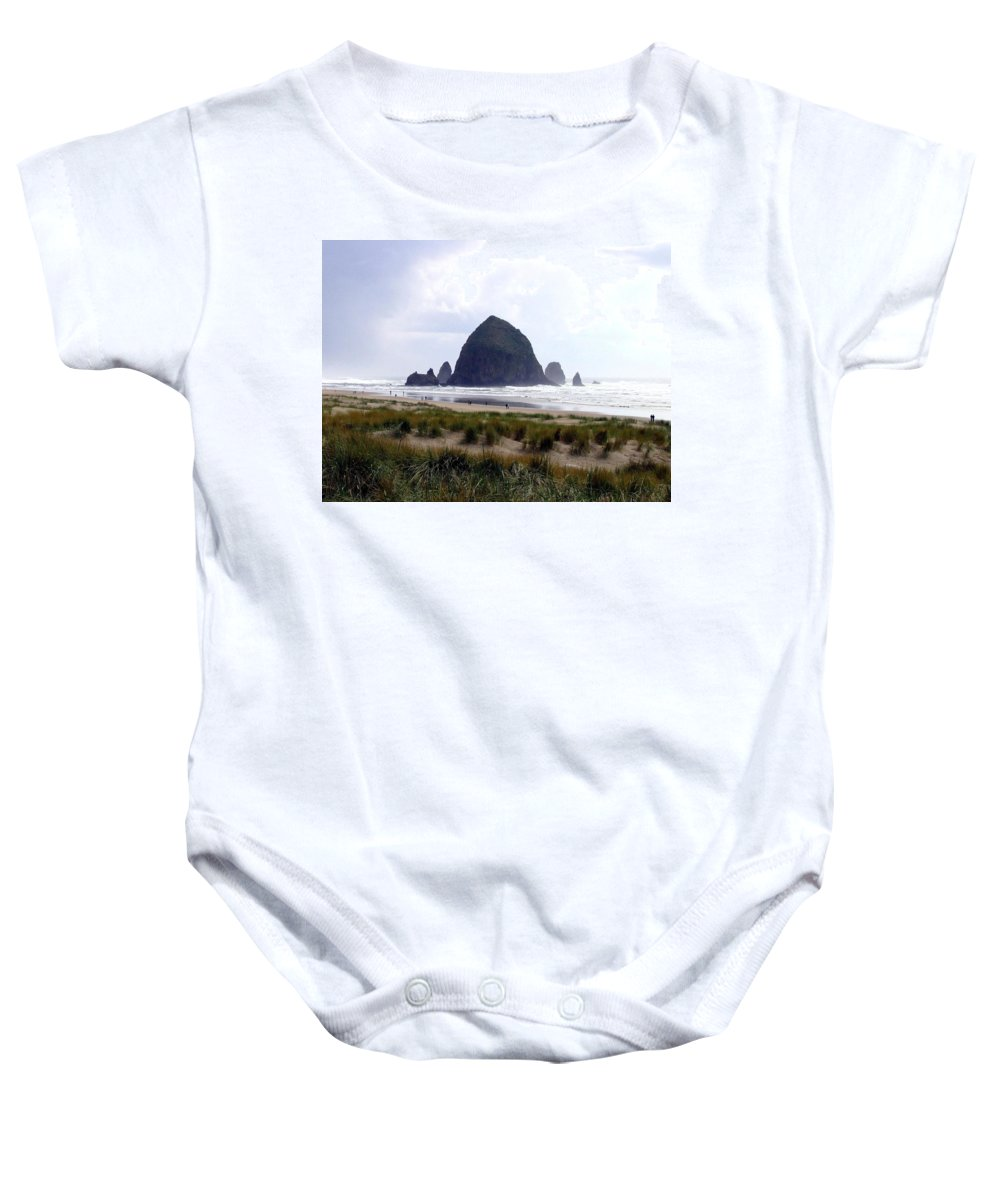 Cannon Beach Baby Onesie featuring the photograph A Walk In The Mist by Will Borden