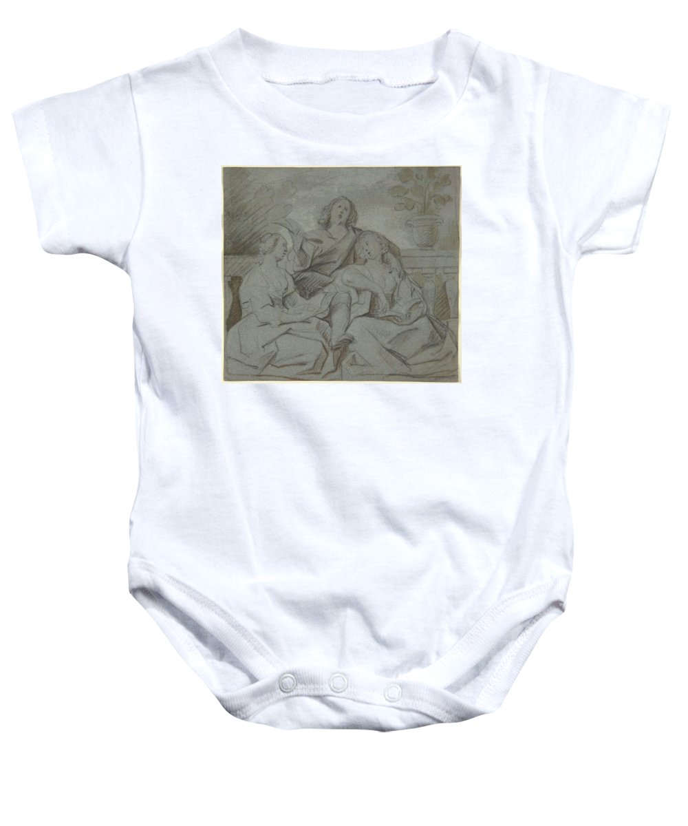 Girl Baby Onesie featuring the painting A Youth And Two Girls Singing , Jacob Jordaens by Jacob Jordaens