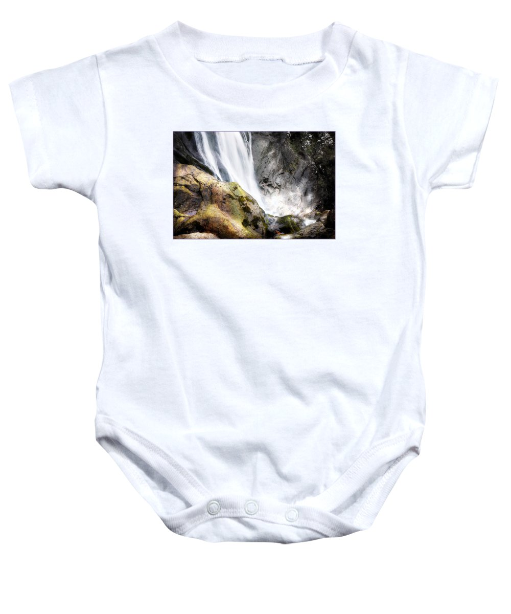 Aber Baby Onesie featuring the photograph Aber Falls by Mal Bray