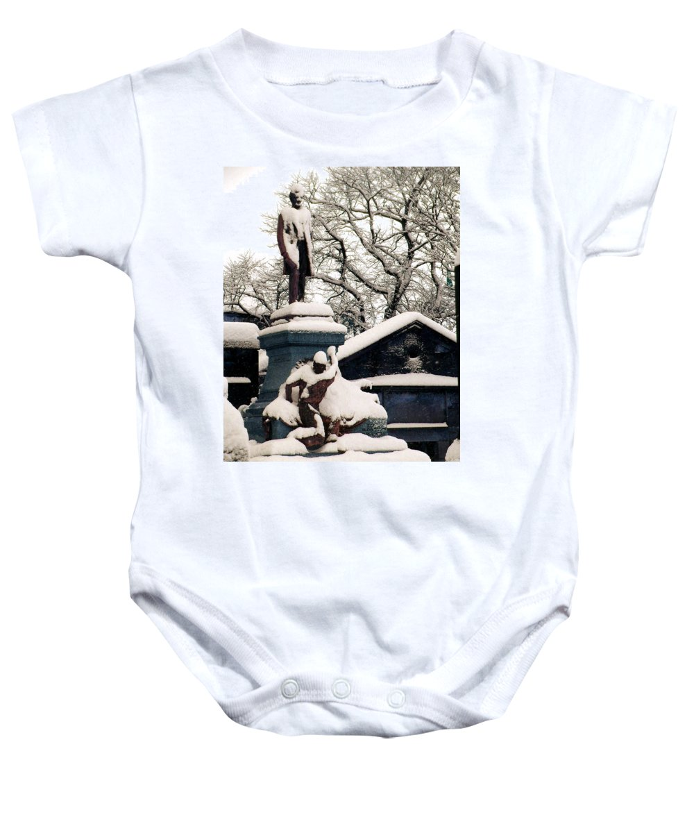 Abraham Lincoln Baby Onesie featuring the photograph Abraham Lincoln Memorial Scotland Winter by Heather Lennox