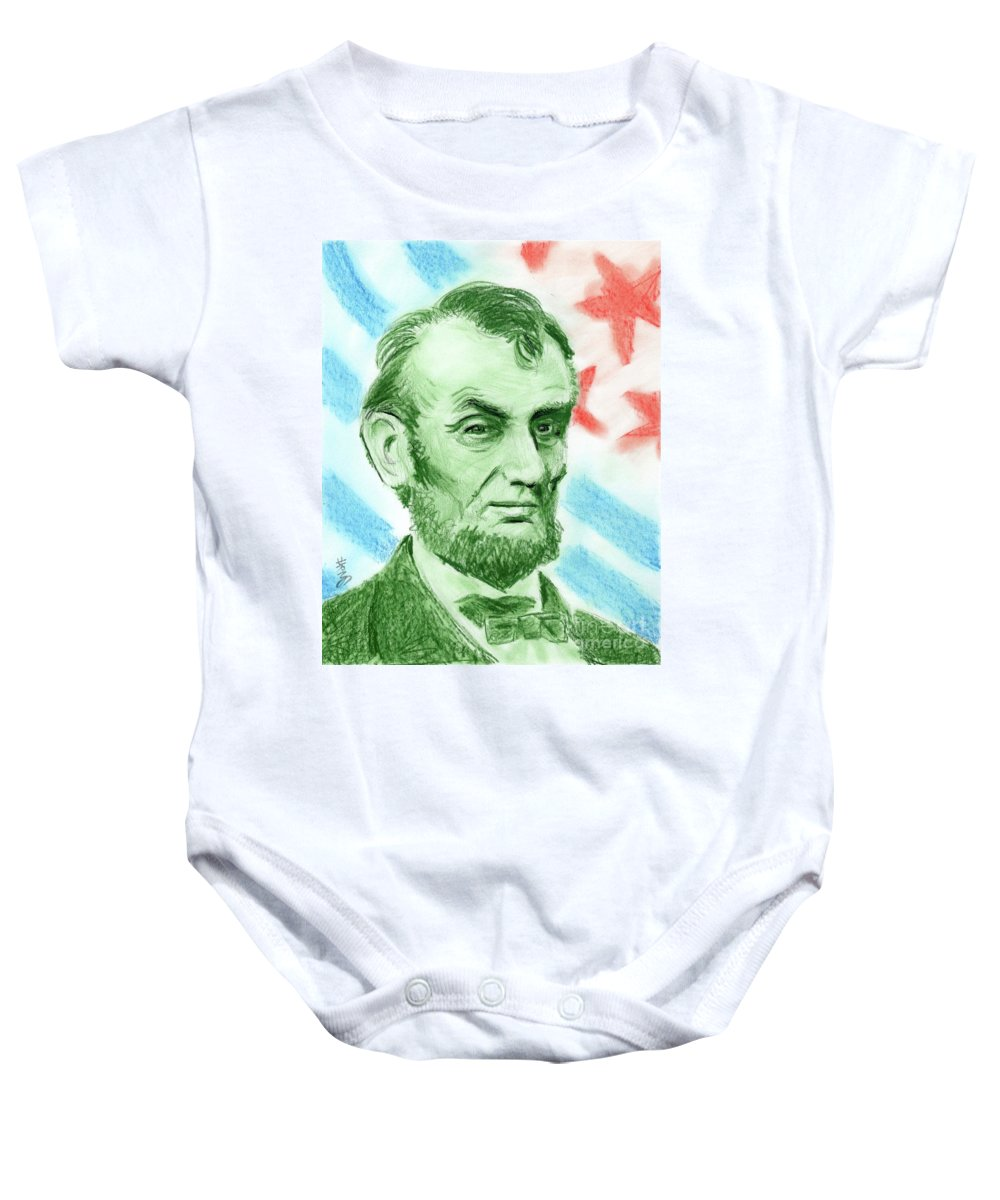 Abraham Lincoln Baby Onesie featuring the drawing Abraham Lincoln by Yoshiko Mishina