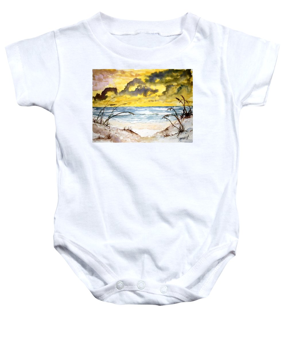 Beach Baby Onesie featuring the painting Abstract Beach Sand Dunes by Derek Mccrea