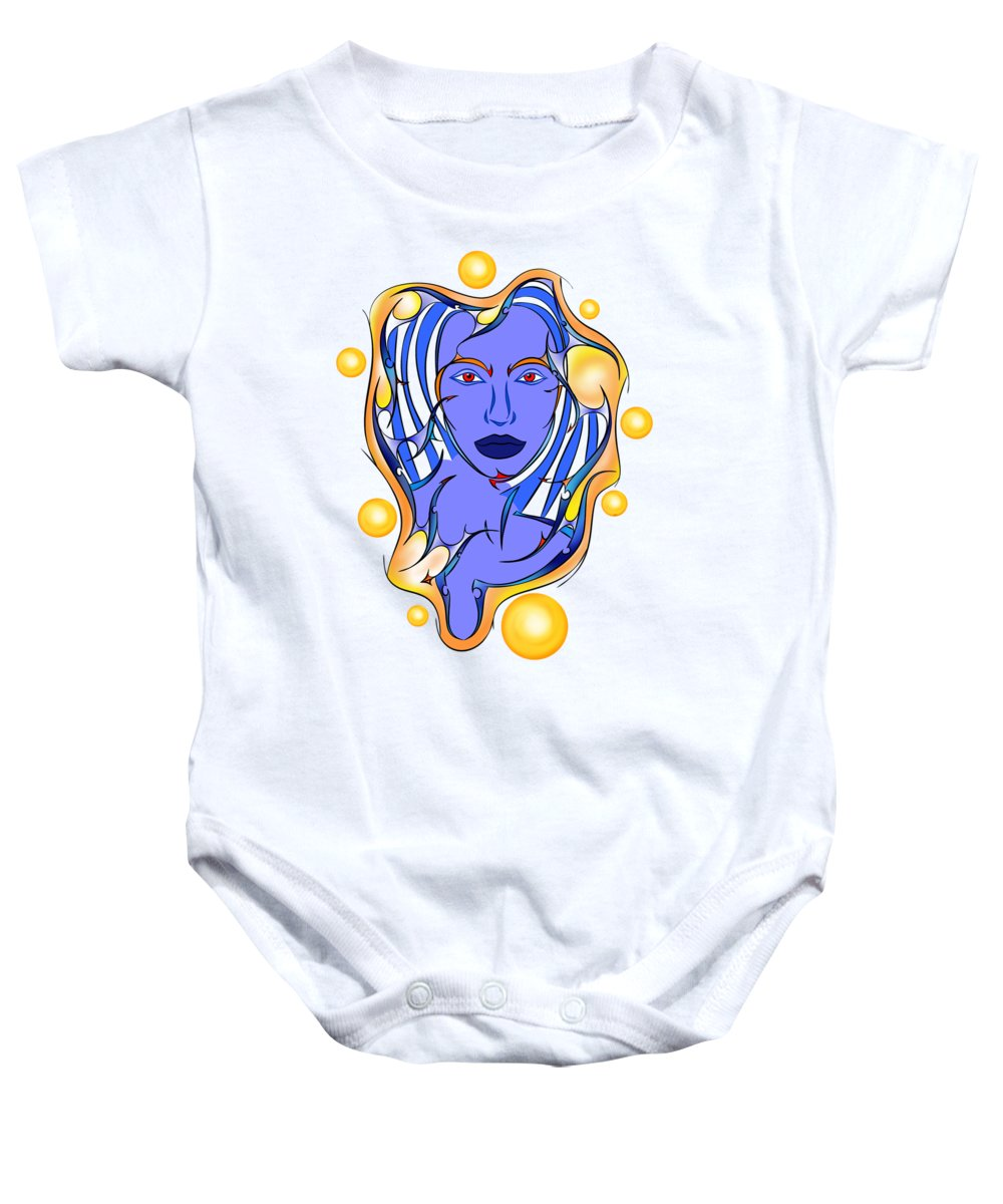 Abstract Baby Onesie featuring the painting Angeonilium V2 - Blue Beauty by Cersatti