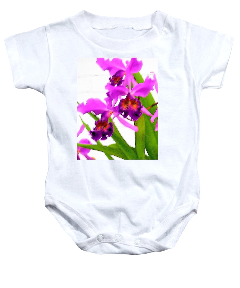 Flowers Baby Onesie featuring the digital art Abstract Iris by Anita Burgermeister