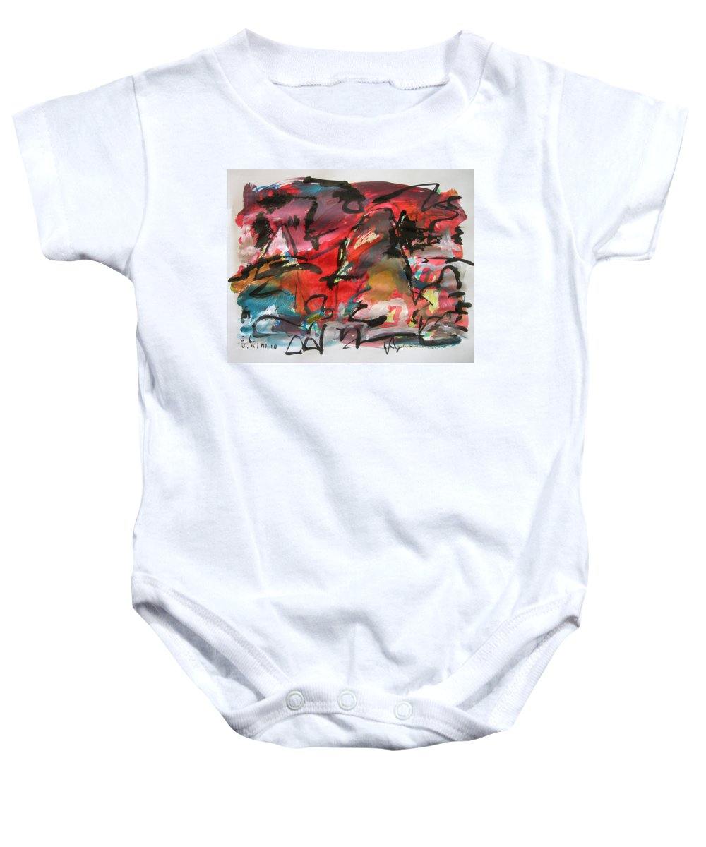 Red Paintings Baby Onesie featuring the painting Abstract Landscape Sketch13 by Seon-Jeong Kim