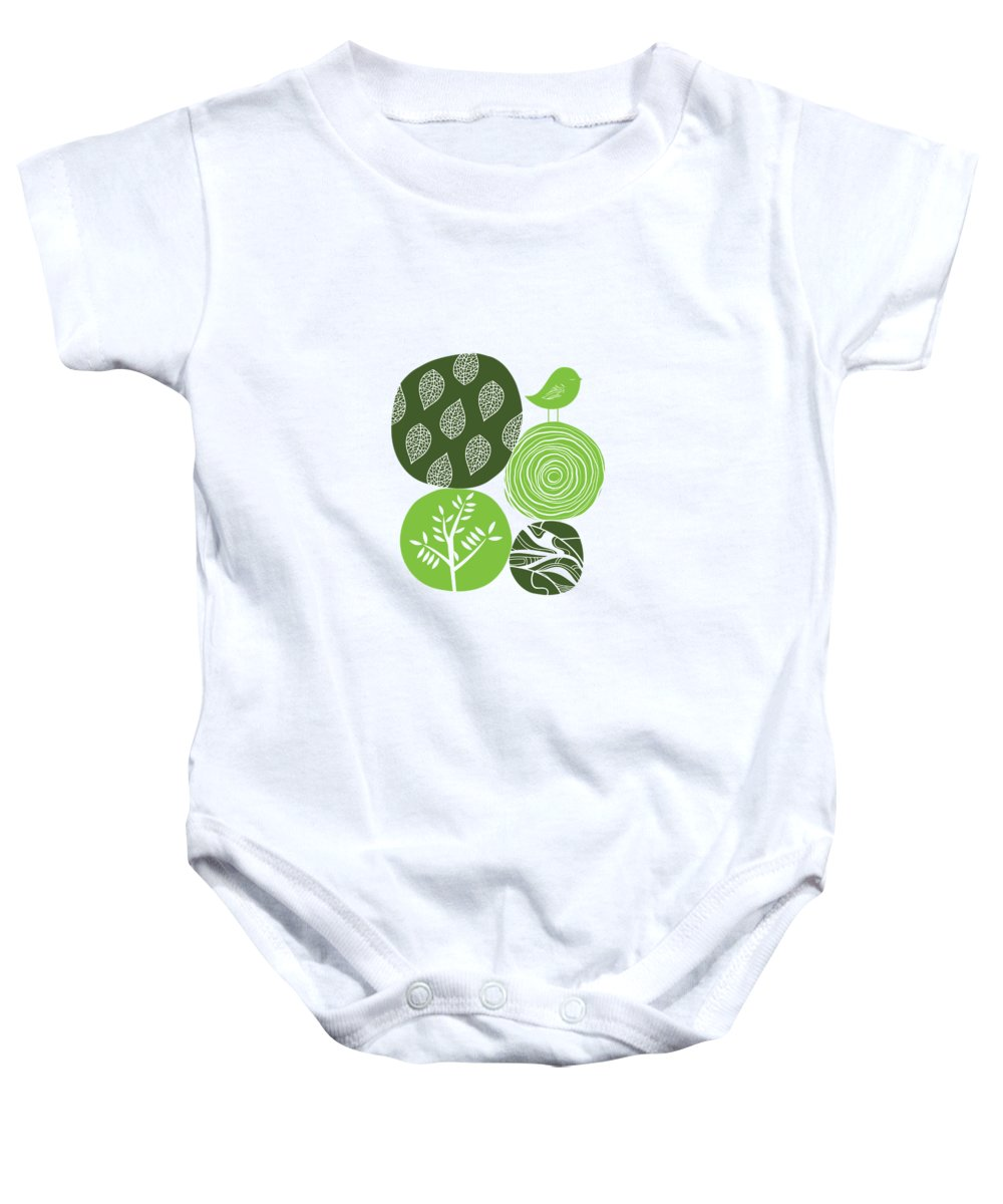Nature Baby Onesie featuring the digital art Abstract Nature Green by BONB Creative