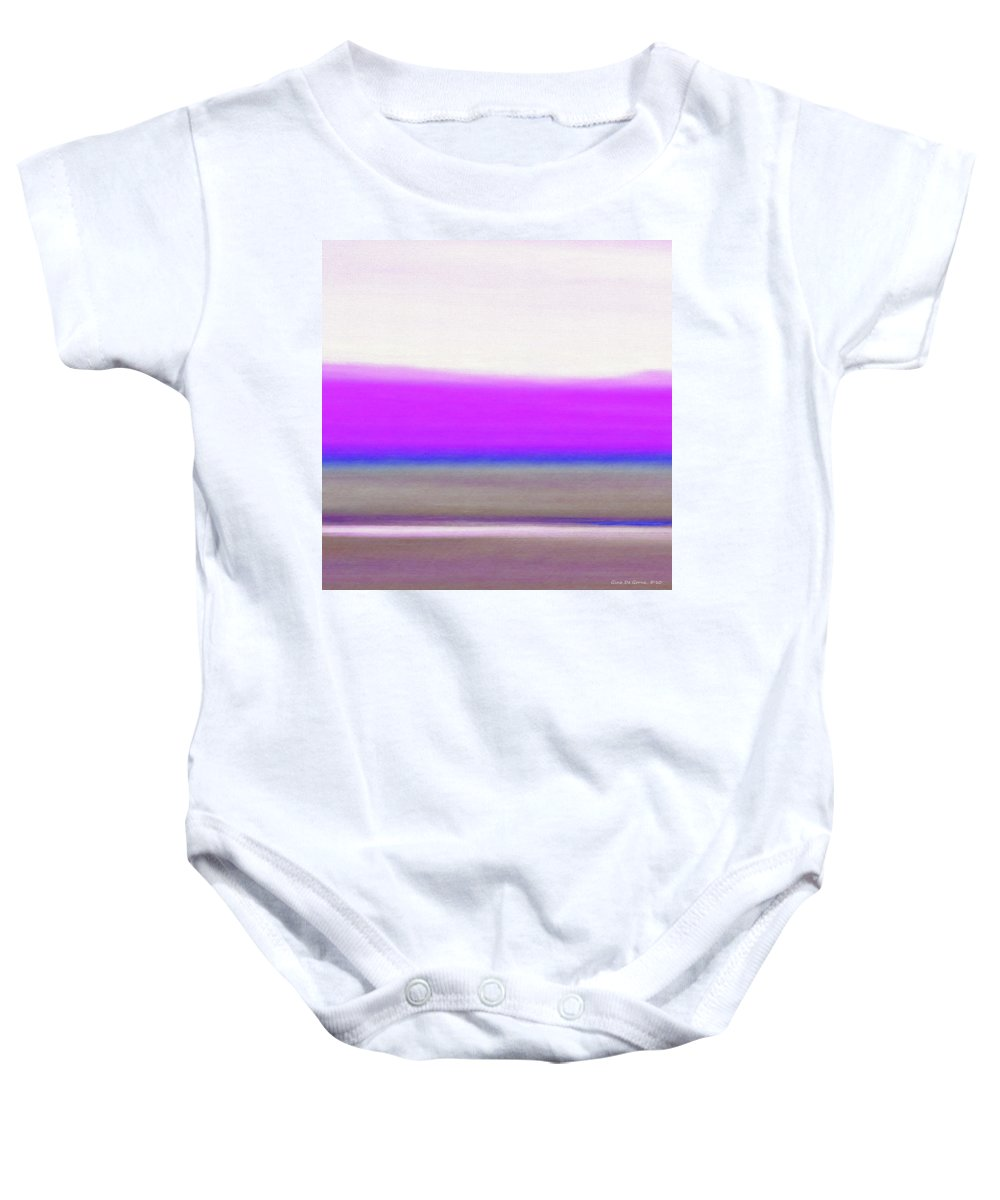 Brown Baby Onesie featuring the painting Abstract Sunset 65 by Gina De Gorna