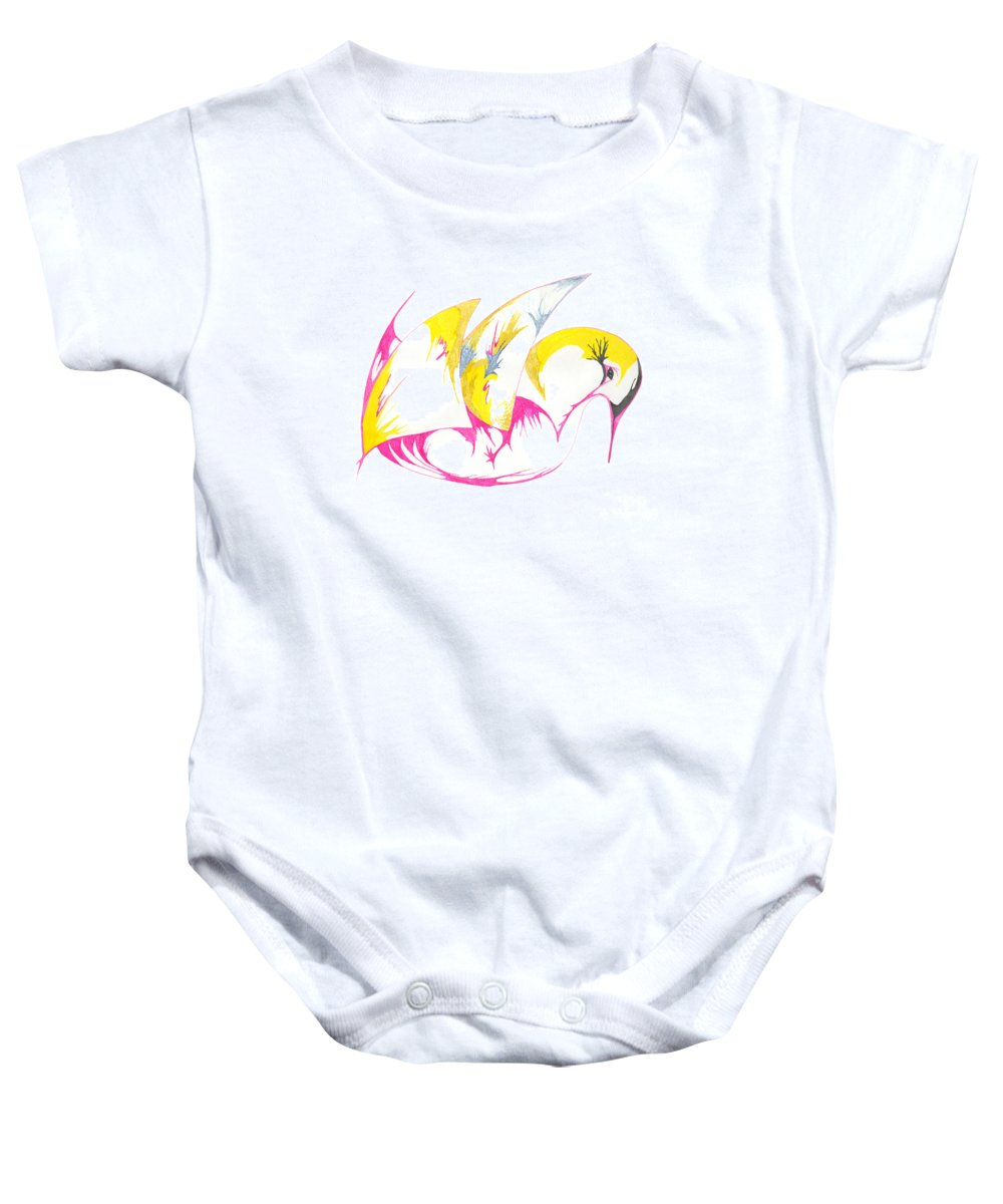 Abstract Baby Onesie featuring the drawing Abstract Swan by Mary Mikawoz
