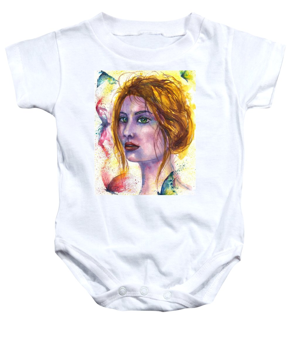 Women Face Baby Onesie featuring the painting Abstract women face by Natalja Picugina