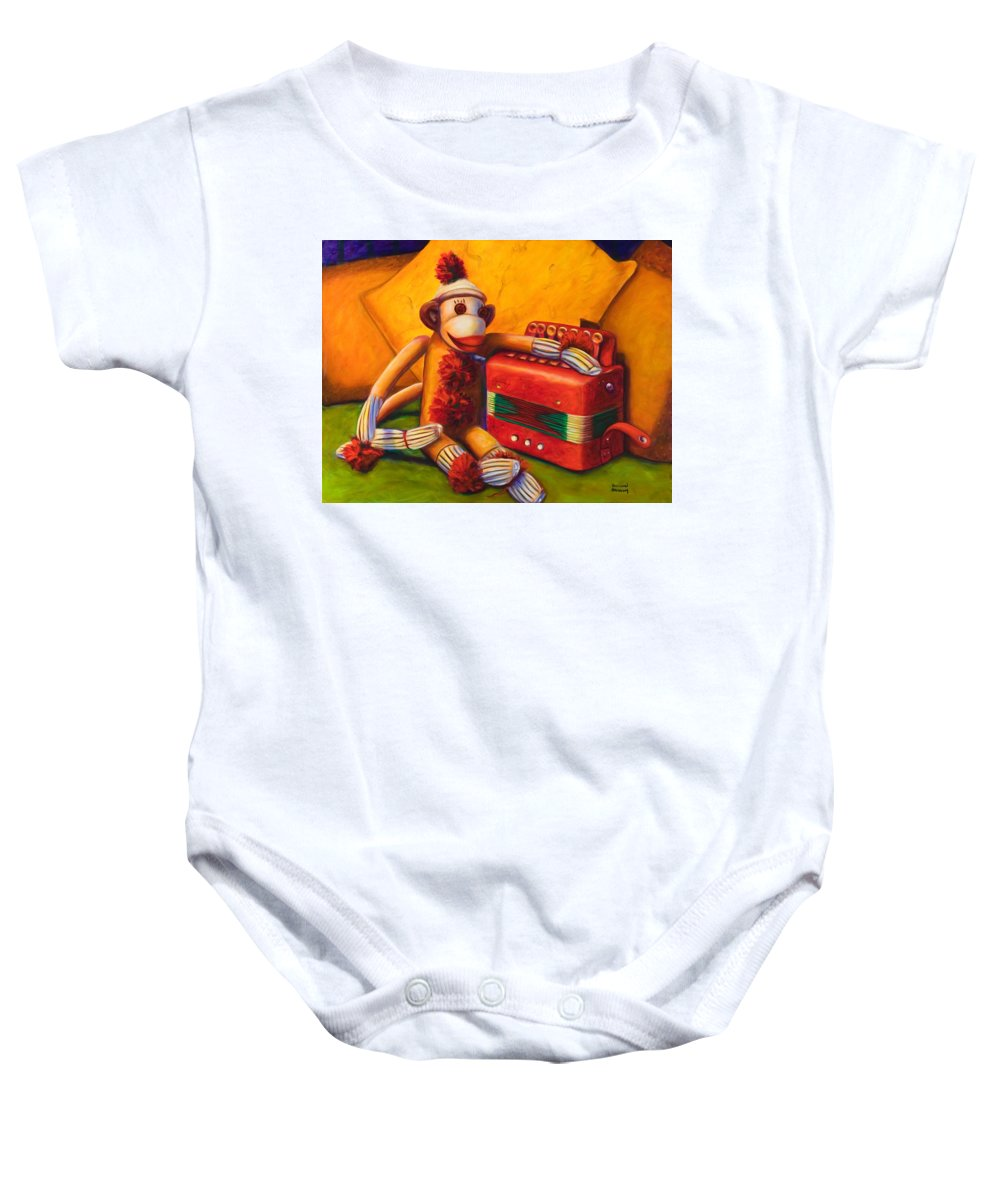 Children Baby Onesie featuring the painting Accordion by Shannon Grissom