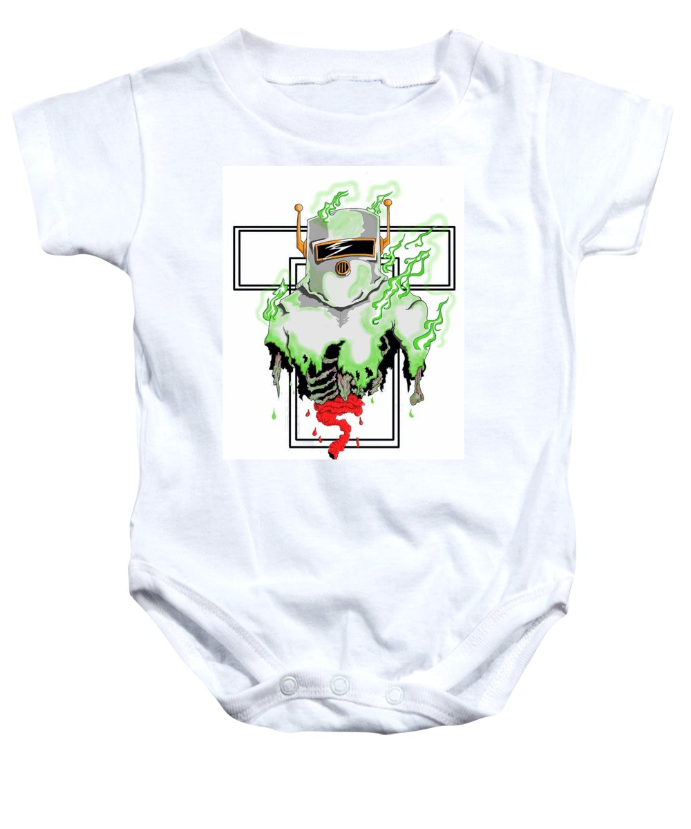 Hazmat Suit Baby Onesie featuring the digital art Acid Burn by Jason Griffith