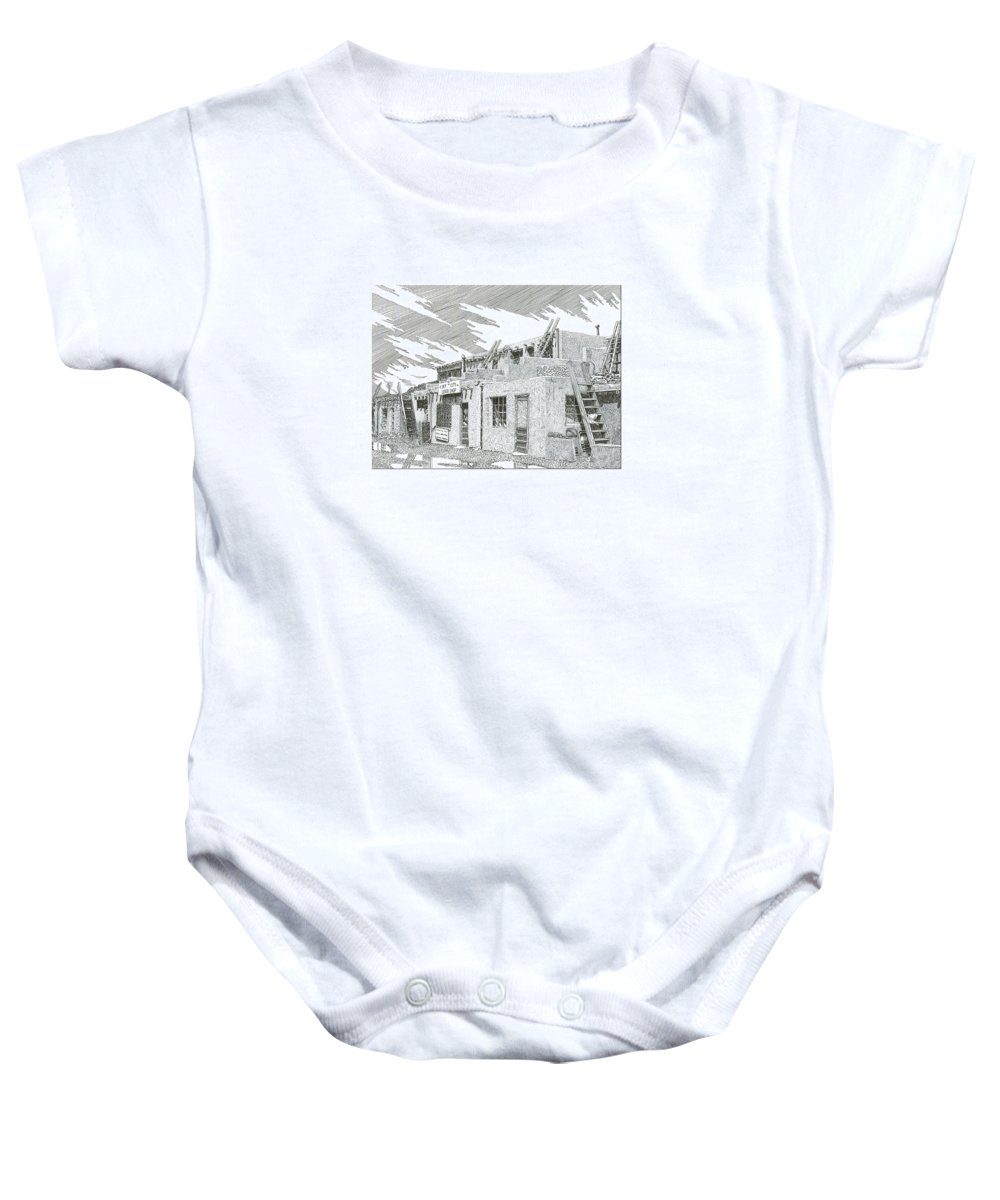 Images Of Acoma Sky City Acoma Baby Onesie featuring the drawing Acoma Sky City by Jack Pumphrey