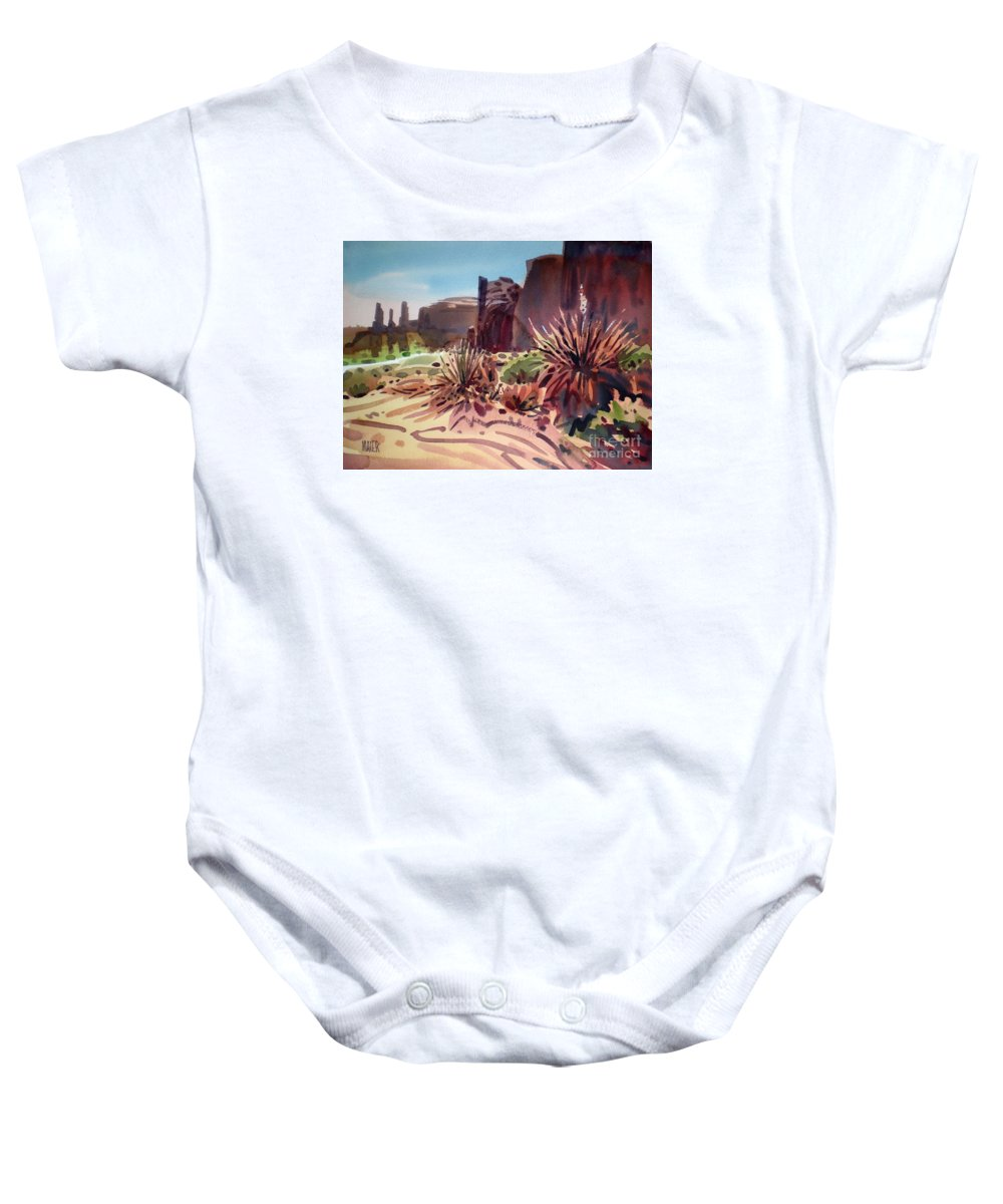 Monument Valley Baby Onesie featuring the painting Across Monument Valley by Donald Maier
