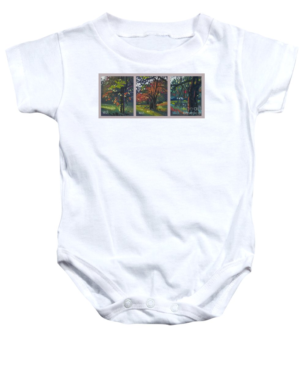 Autumn Foliage Baby Onesie featuring the painting Across The Creek Triplet by Donald Maier