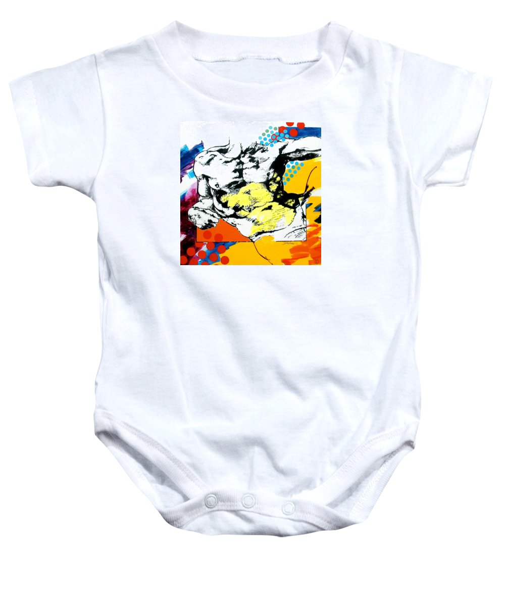 Pop Baby Onesie featuring the painting Adam by Jean Pierre Rousselet