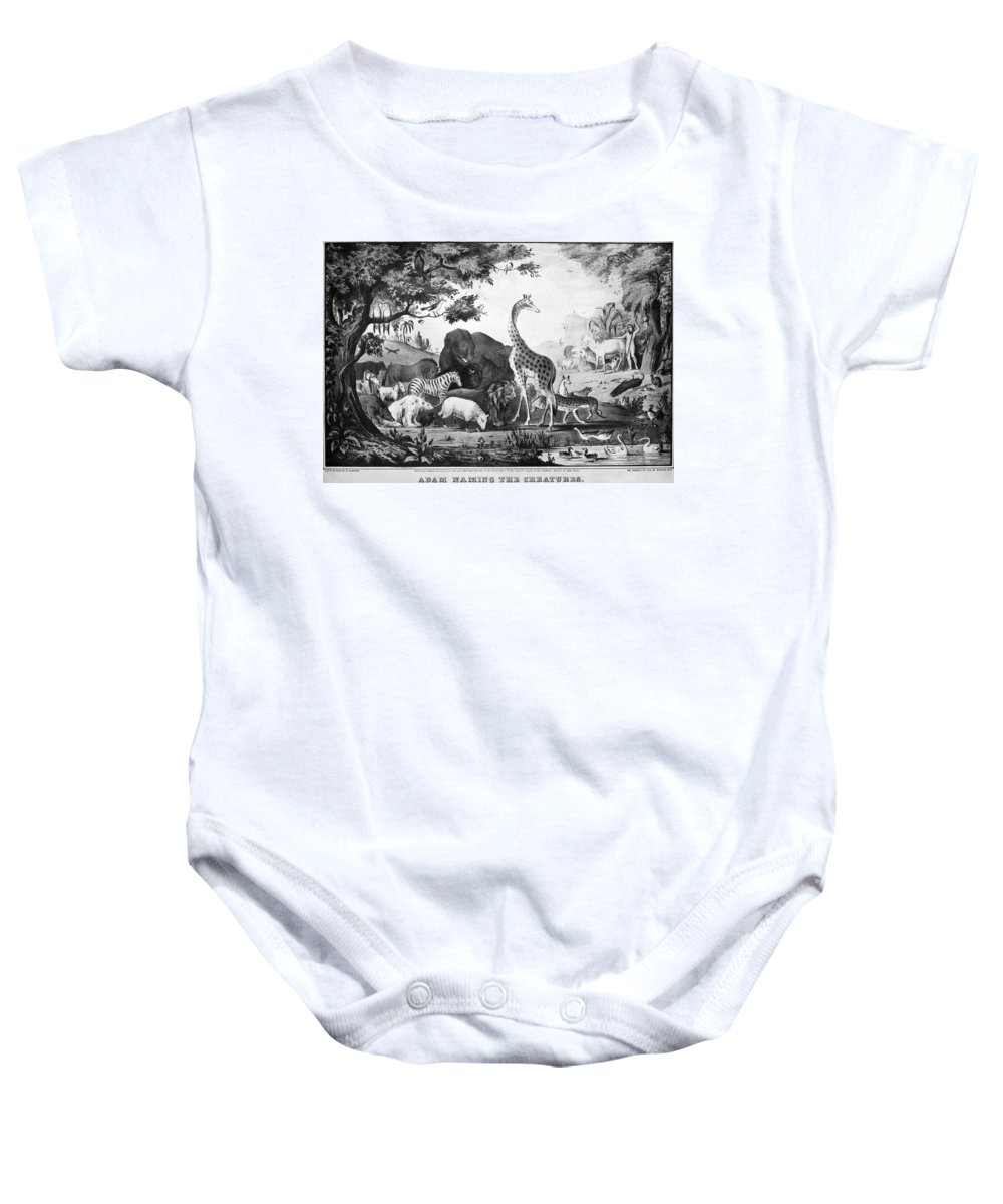 1847 Baby Onesie featuring the photograph Adam Naming Creatures by Granger