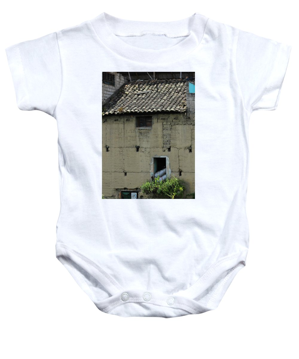 Building Baby Onesie featuring the photograph Adobe Building In Otavalo by Robert Hamm