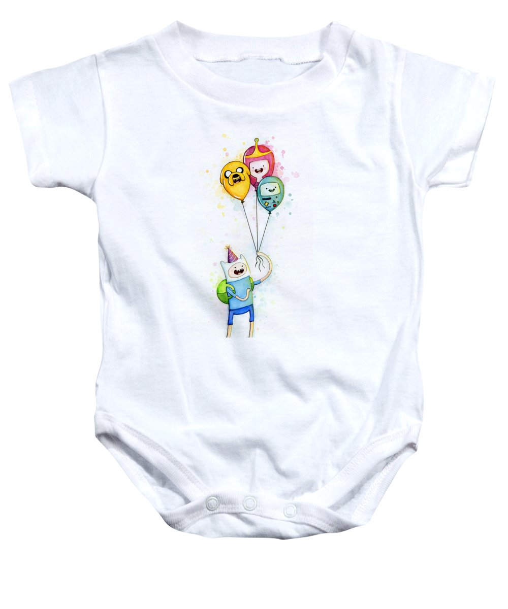 Jake Baby Onesie featuring the painting Adventure Time Finn With Birthday Balloons Jake Princess Bubblegum Bmo by Olga Shvartsur