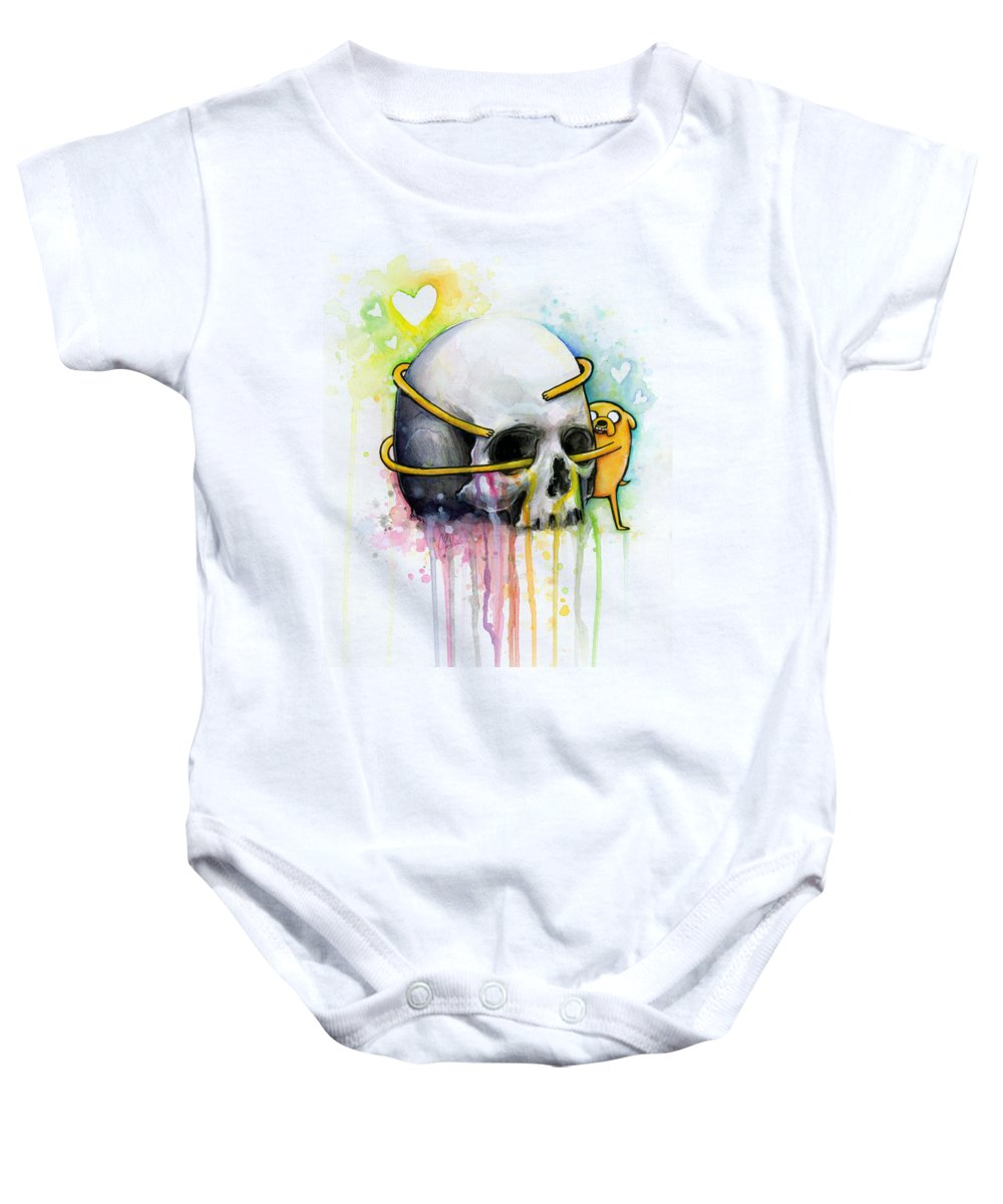 Adventure Time Baby Onesie featuring the painting Adventure Time Jake Hugging Skull Watercolor Art by Olga Shvartsur