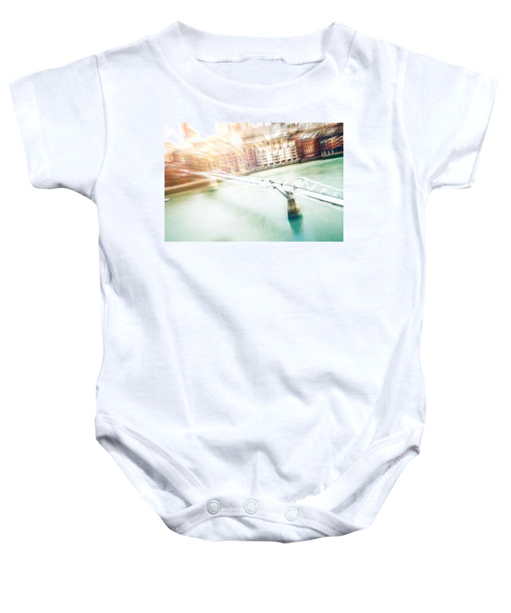 Aerial View Baby Onesie featuring the photograph Aerial View Of The Millennium Bridge by Leonardo Patrizi