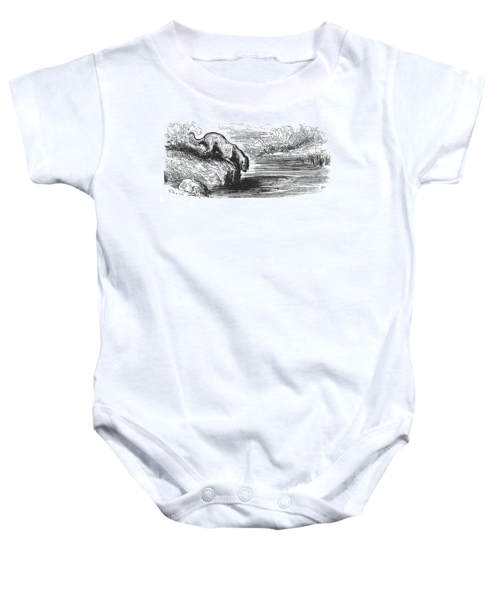 Aesop Baby Onesie featuring the photograph Aesop: Dog & His Shadow by Granger