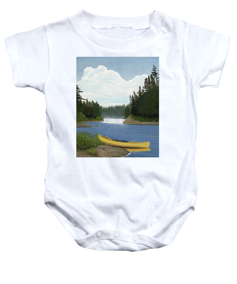 Landscapes Baby Onesie featuring the painting After The Rapids by Kenneth M Kirsch