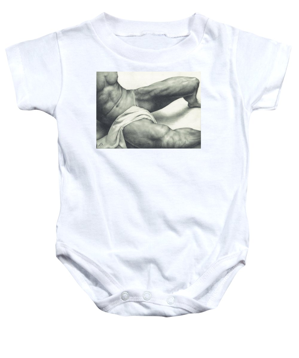 Gay Baby Onesie featuring the drawing After The Steam by Maciel Cantelmo
