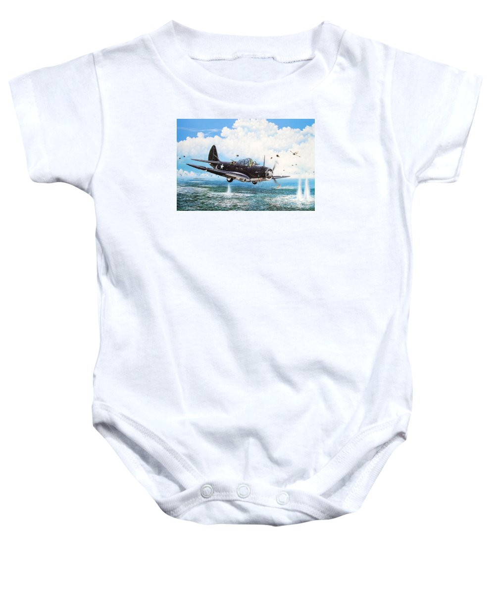 Military Baby Onesie featuring the painting Against The Odds by Marc Stewart