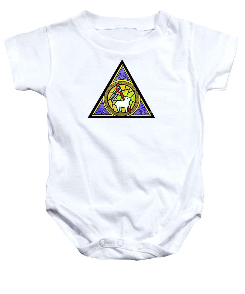 Lamb Baby Onesie featuring the painting Agnus Dei by Jim Harris
