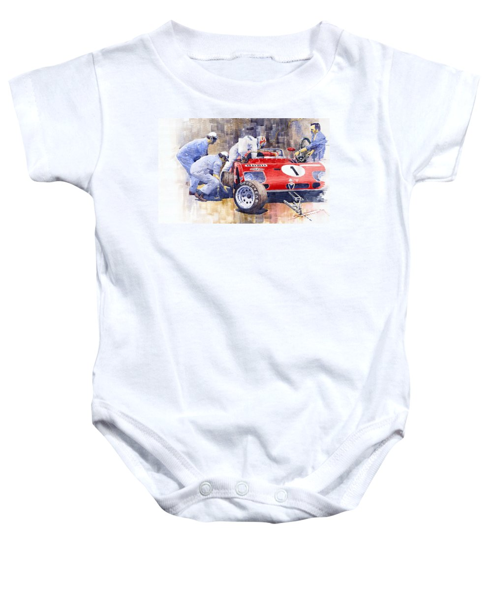 Watercolor Baby Onesie featuring the painting Alfa Romeo 33tt3 Targa Floria 1972 Vaccarella Stommelen by Yuriy Shevchuk