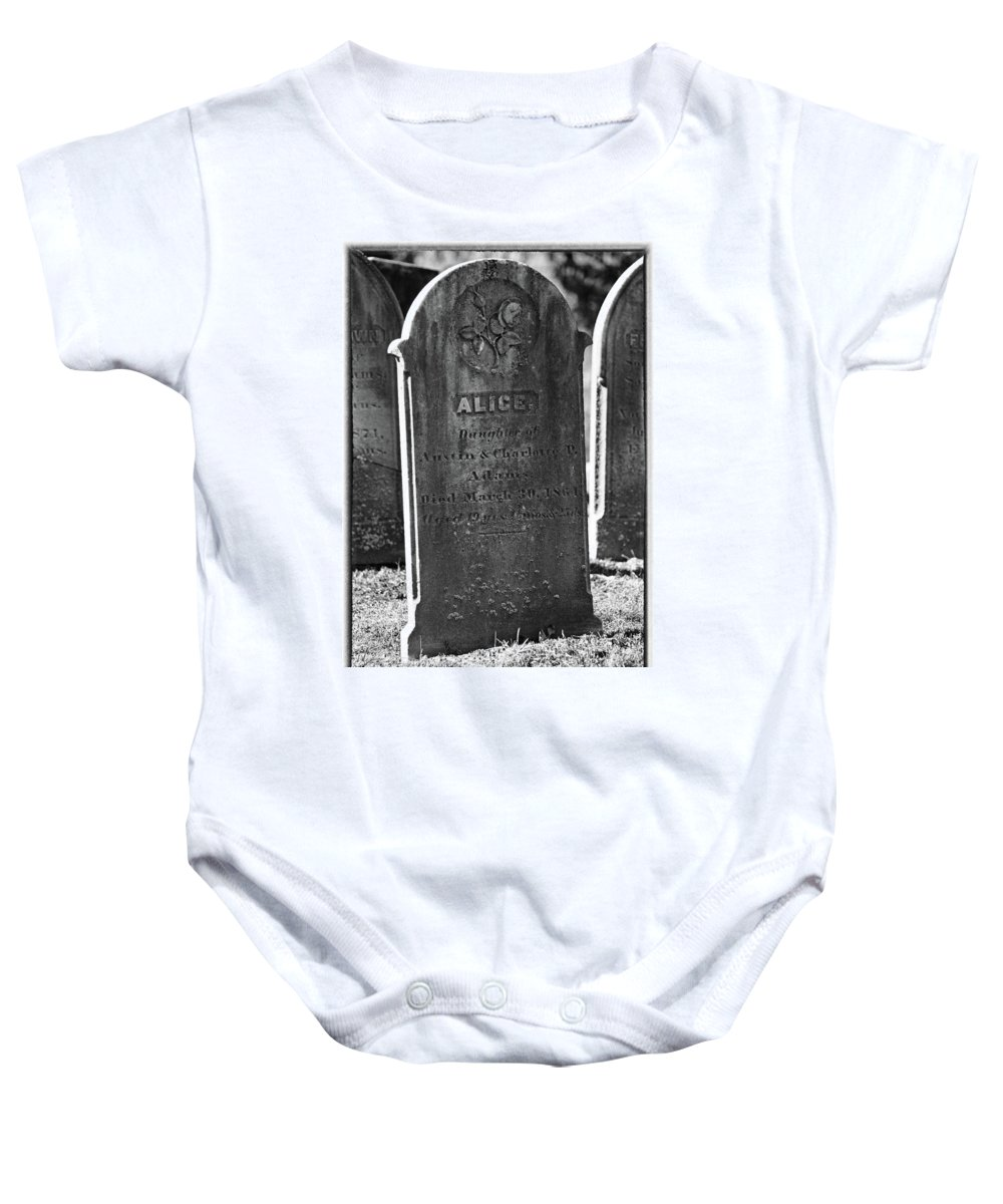 Religion Baby Onesie featuring the photograph Alice Adams by Mike Martin