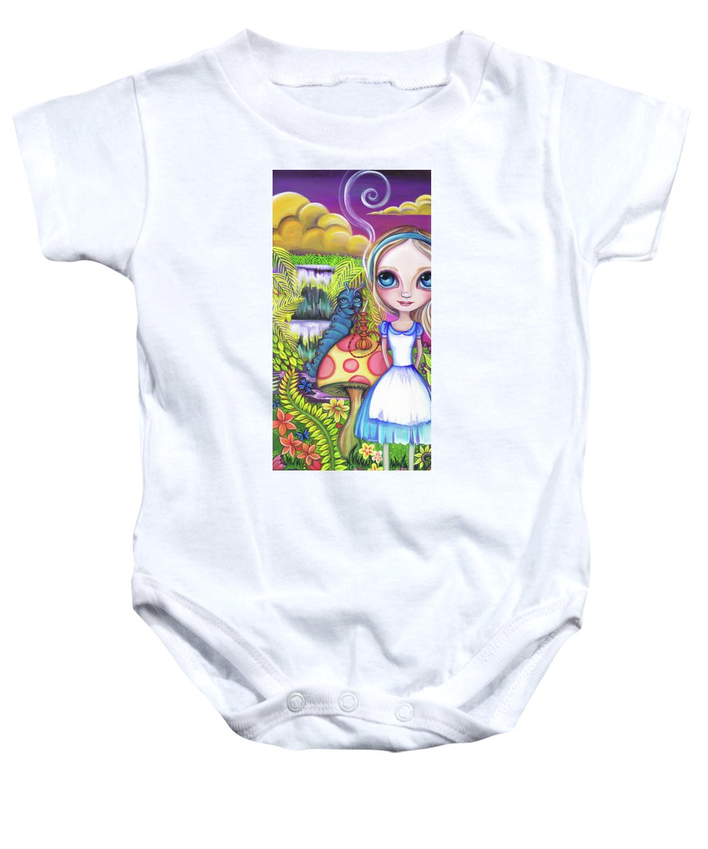 Alice In Wonderland Baby Onesie featuring the painting Alice And Absolem by Jaz Higgins