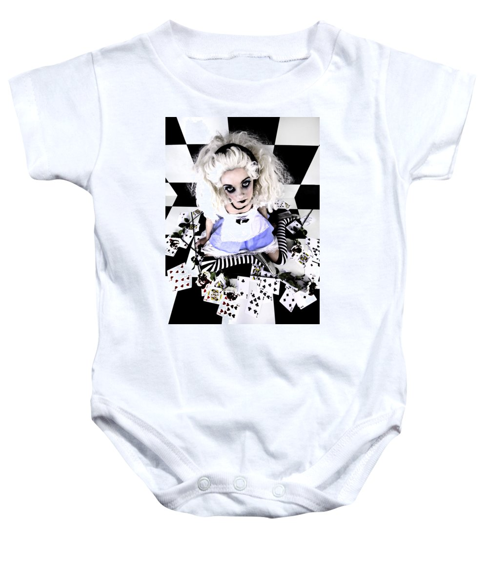 Alice In Wonderland Baby Onesie featuring the photograph Alice1 by Kelly King