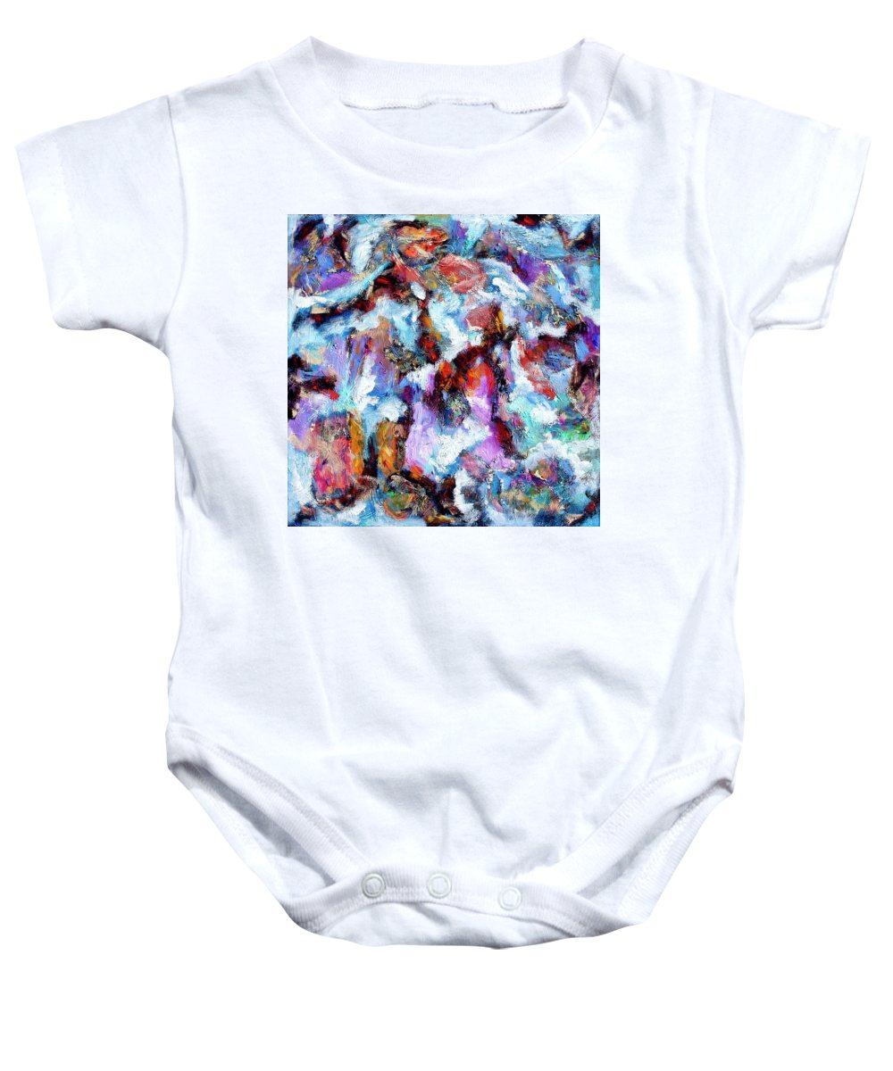 Abstract Baby Onesie featuring the painting All She Wrote by Dominic Piperata