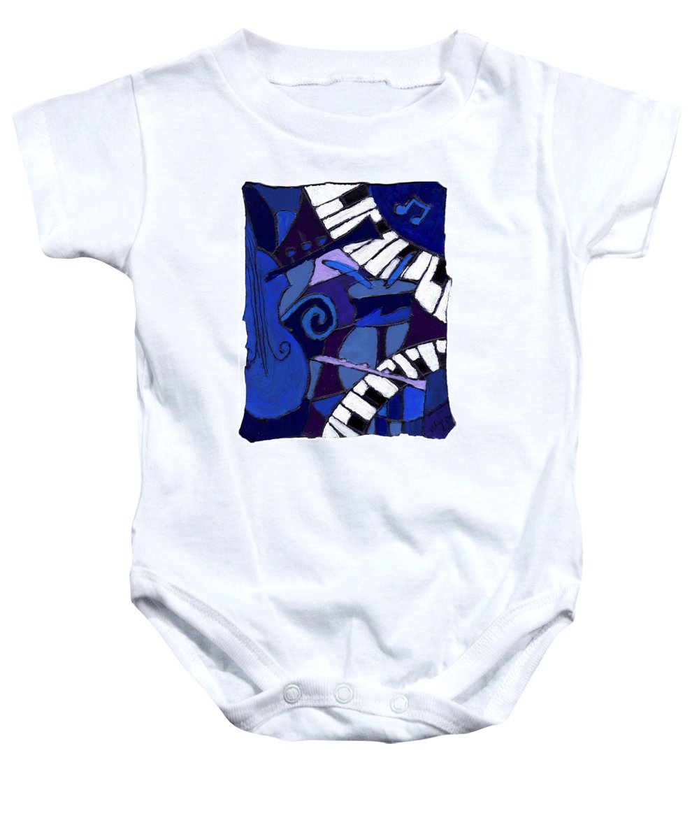 Jazz Baby Onesie featuring the painting All That Jazz 3 by Wayne Potrafka
