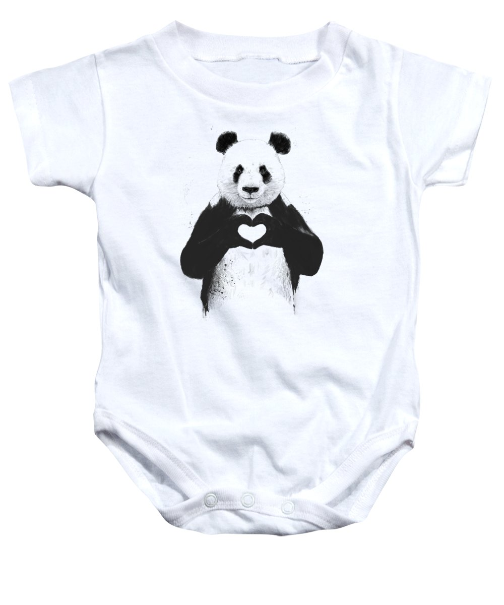 Panda Baby Onesie featuring the mixed media All you need is love by Balazs Solti