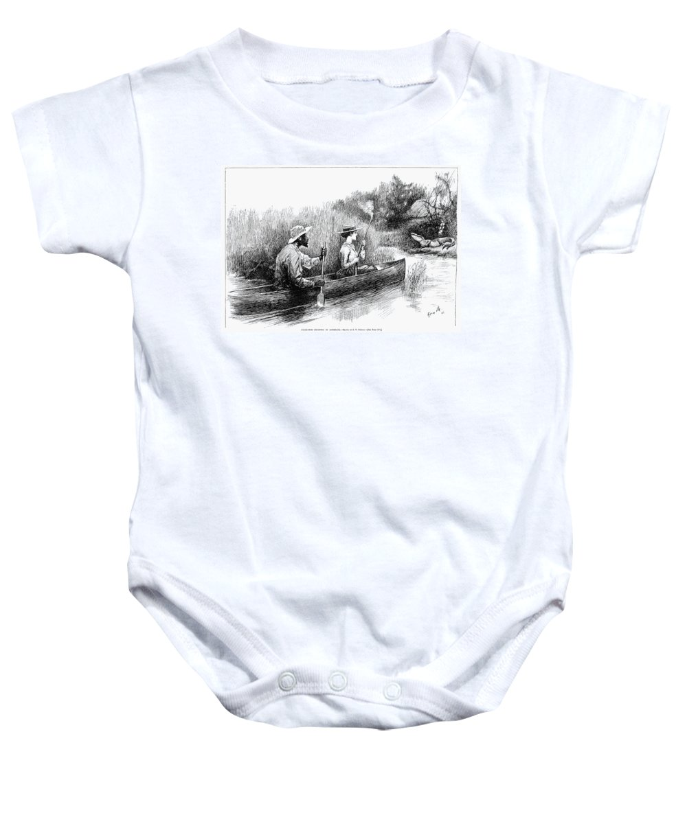 1888 Baby Onesie featuring the photograph Alligator Hunt, 1888 by Granger
