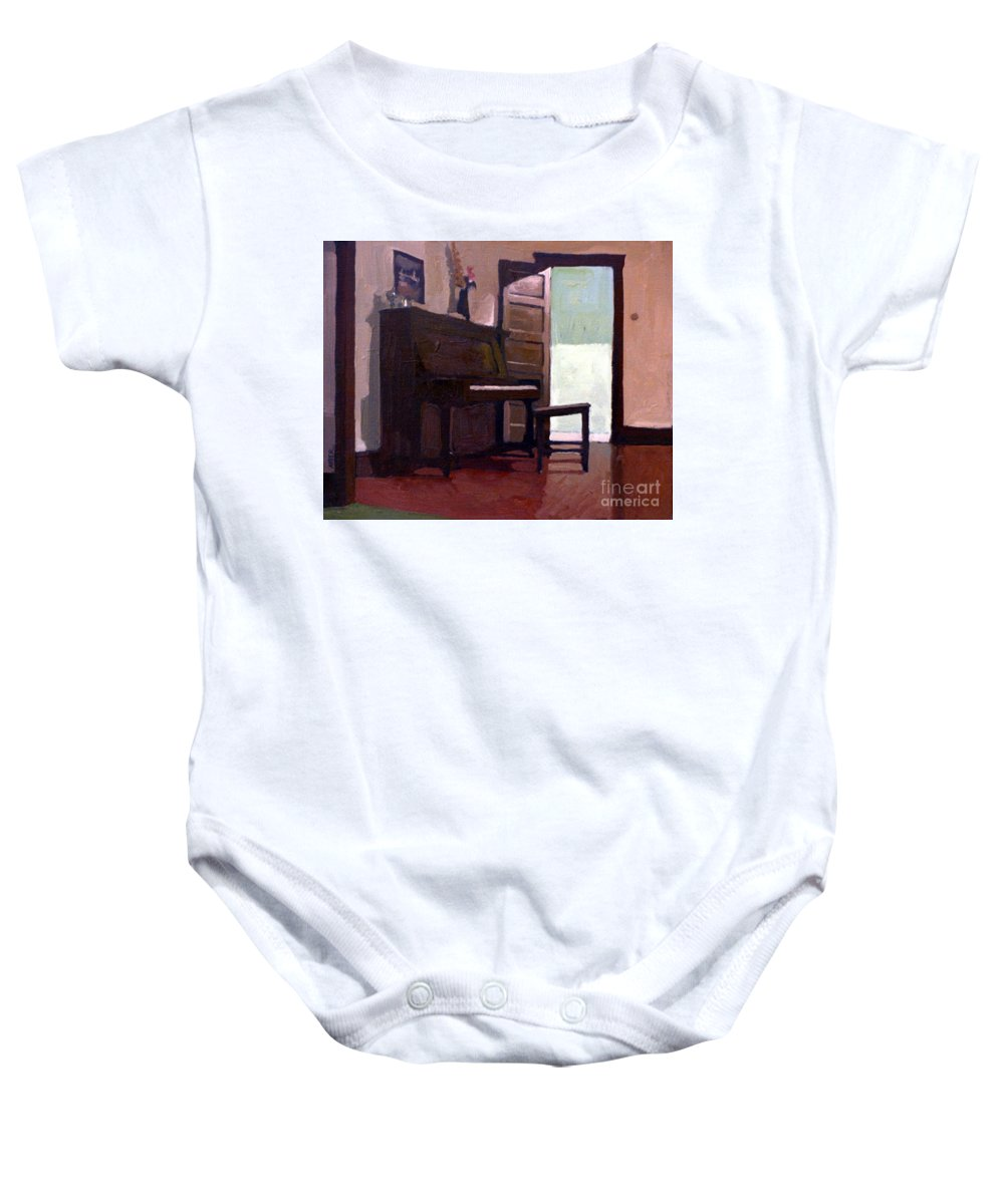 Piano Baby Onesie featuring the painting Allison's Piano by Donald Maier