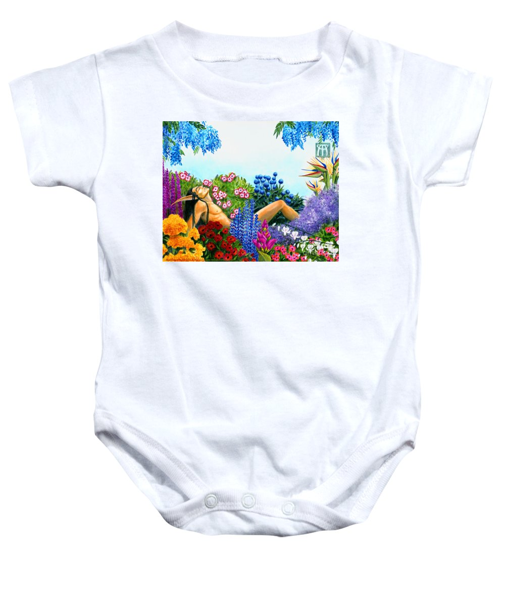 Elf Baby Onesie featuring the painting Alluring Scent by Melissa A Benson