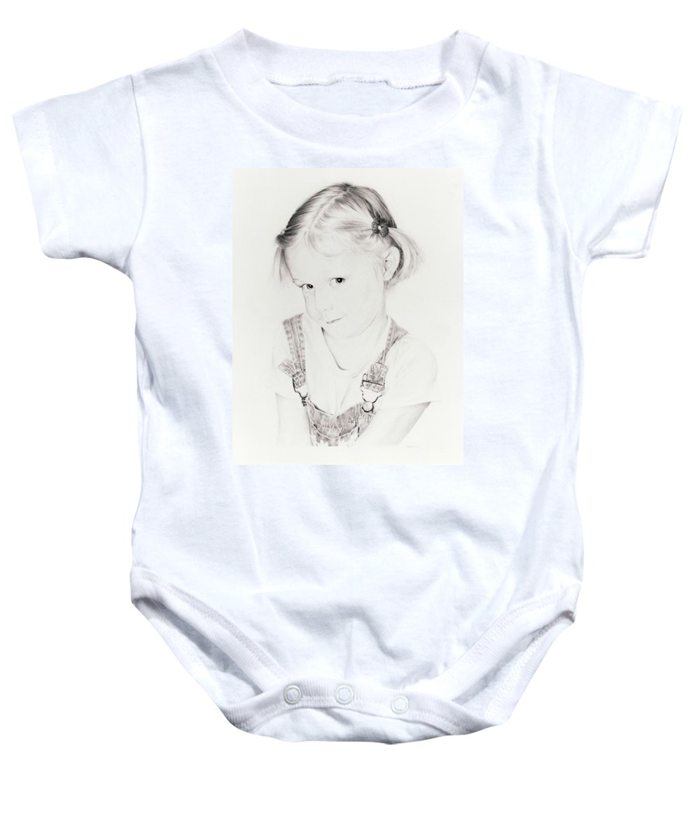Portrait Baby Onesie featuring the drawing Almost Perfect by Rachel Christine Nowicki