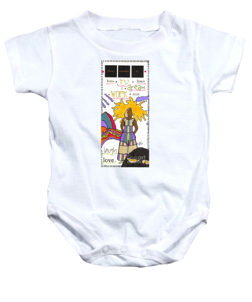 Gretting Cards Baby Onesie featuring the mixed media Always Remember by Angela L Walker