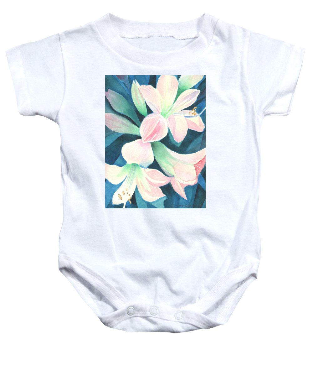 Flower Baby Onesie featuring the painting Amaryllis by Helena Tiainen