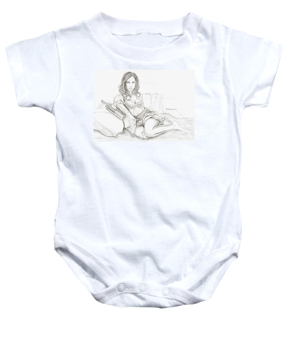 Latina Baby Onesie featuring the drawing America by Americo Salazar