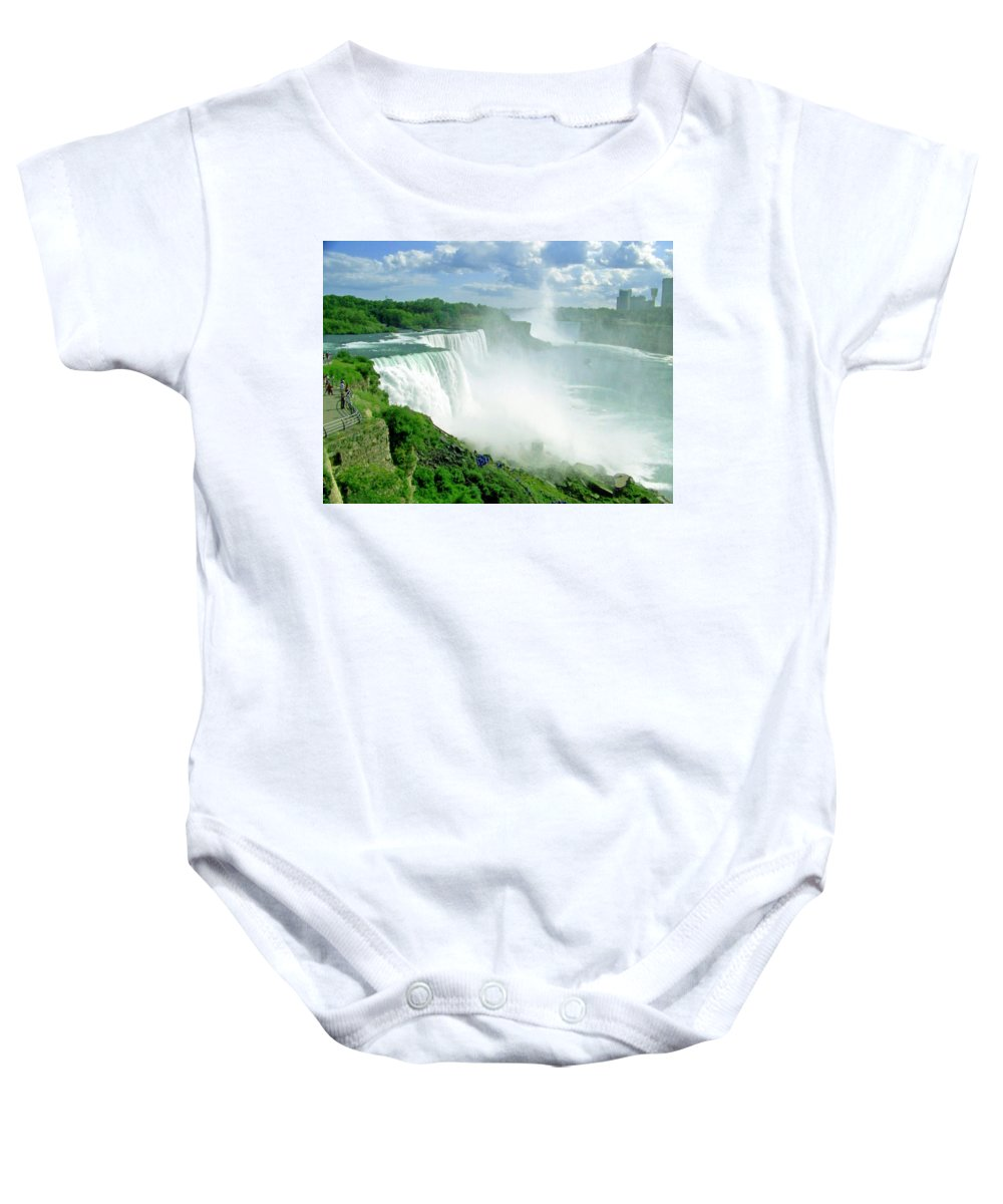 Waterfall Baby Onesie featuring the photograph American And Niagra Falls At Niagra by Laurie Paci