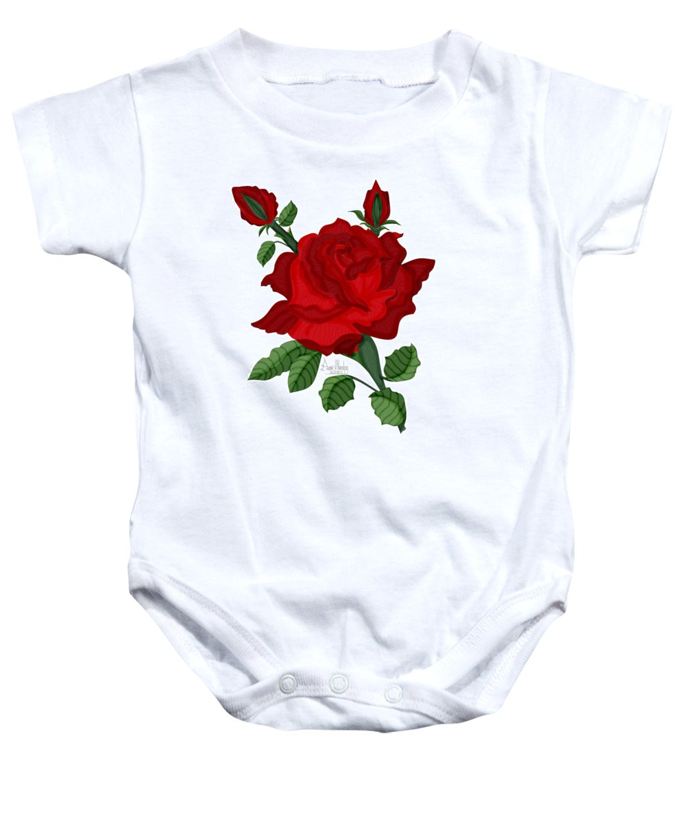 American Beauty Rose Baby Onesie featuring the painting American Beauty Rose by Anne Norskog
