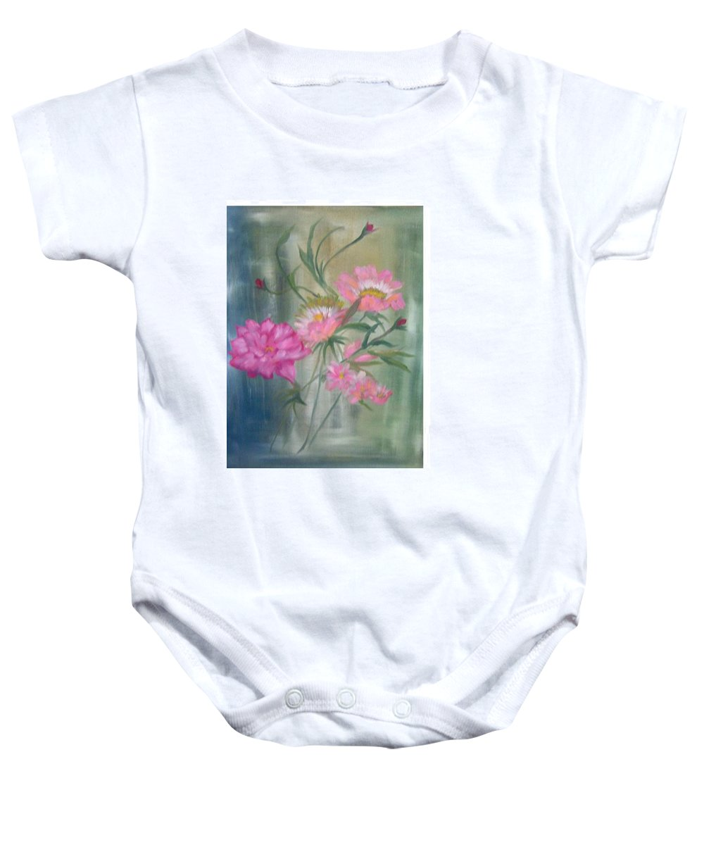 Pink Roses Still Life Baby Onesie featuring the painting American Beauty Rose by Hal Newhouser