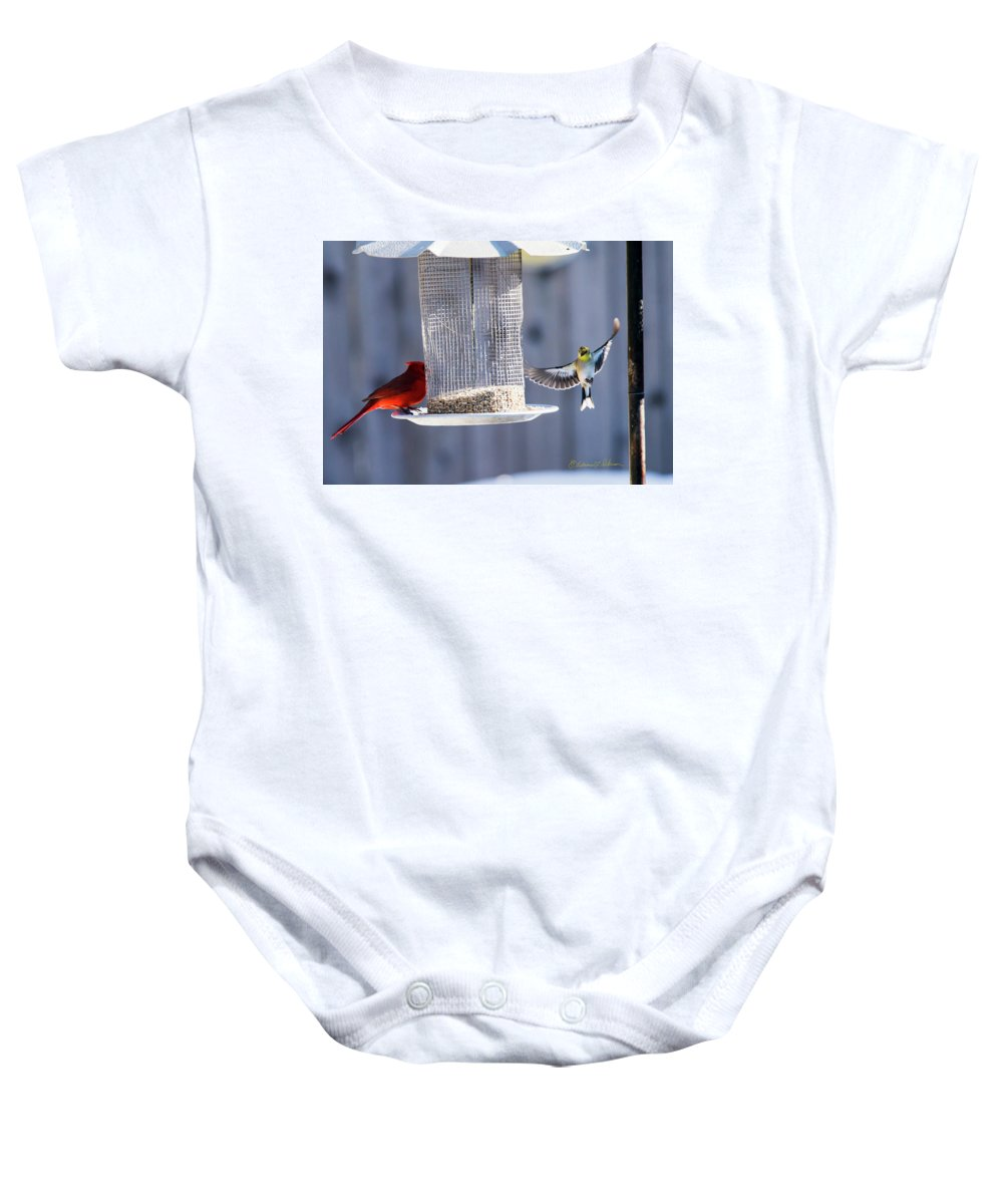 American Goldfinch Baby Onesie featuring the photograph American Goldfinch Inbound by Edward Peterson